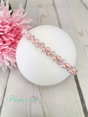 Аксесоар за коса диадема с кристали и перли