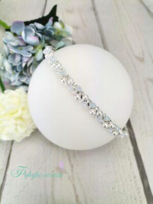 Диадема с кристали и перли ръчна изработка