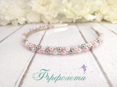 Ръчно изработена диадема с кристали и перли