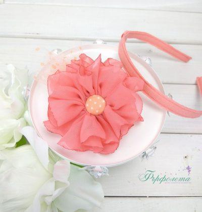 Ръчно изработена диадема и фиба с цветя