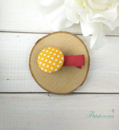 Комплект ръчно изработени фиби с копчета - Мечо Пух