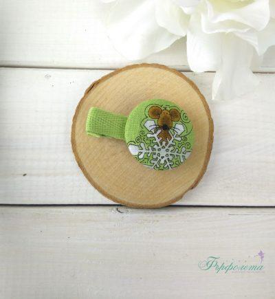 Комплект ръчно изработени фиби с копчета - Мишле със снежинка