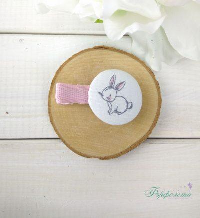 Комплект ръчно изработени фиби с копчета - Зайче
