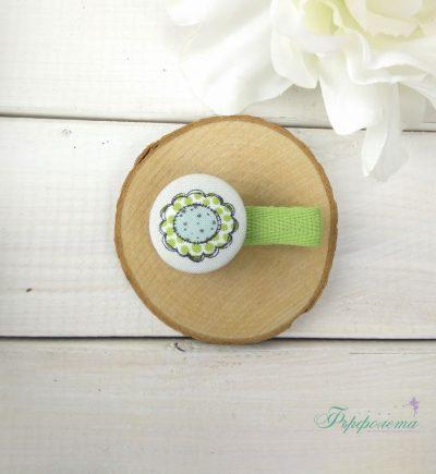 Комплект ръчно изработени фиби с копчета - Мишле