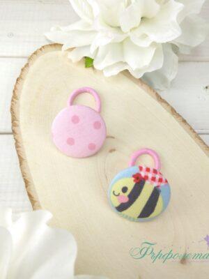 Комплект ръчно изработени ластици за коса - Пчеличка