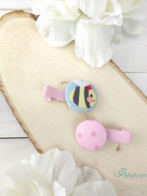 Комплект ръчно изработени фиби с копчета - Пчеличка