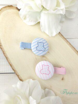 Комплект ръчно изработени фиби с копчета - Мечета