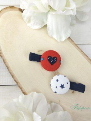 Комплект ръчно изработени фиби с копчета - Свети Валентин