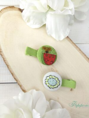 Комплект ръчно изработени фиби с копчета - Мишле с диня