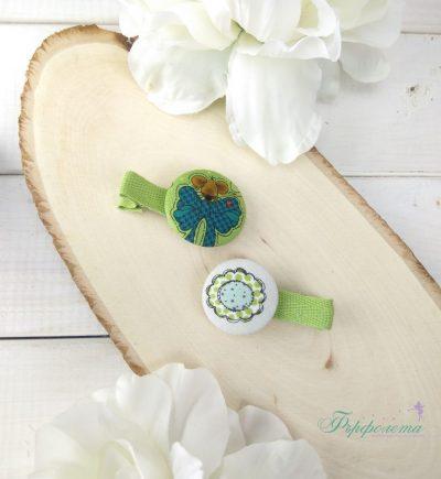 Комплект ръчно изработени фиби с копчета - Мишле с панделка