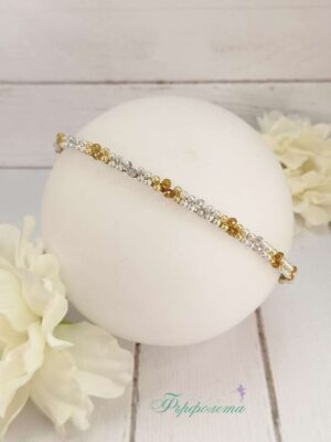 Двуредна диадема с перли и кристали