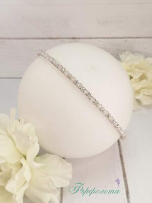 Диадема с естествен камък ахат и кристали